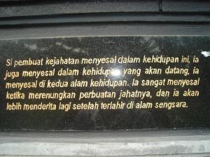 salah satu tulisan pada dinding vihara
