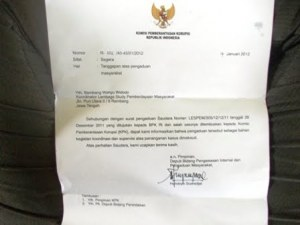 Surat KPK No. R 232/40-43/01/2012 tertanggal 17 Januari 2012
